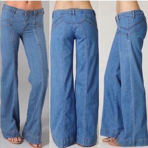 Free People Wide Leg Boho Dark Denim Jeans